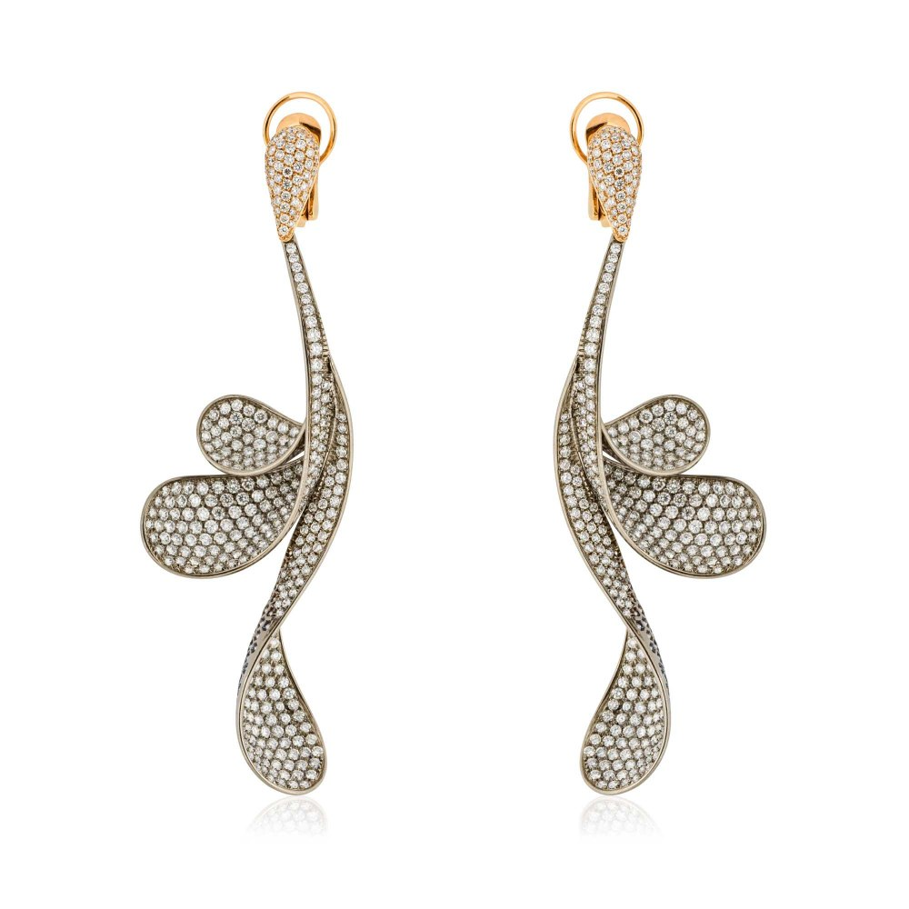 KESSARIS Hanging Wavy Petals Full Pave Diamond Earrings