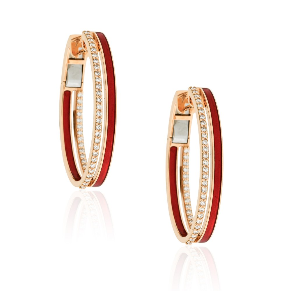 ALESSA JEWELRY Hand-Painted Diamond Hoops SKE191527