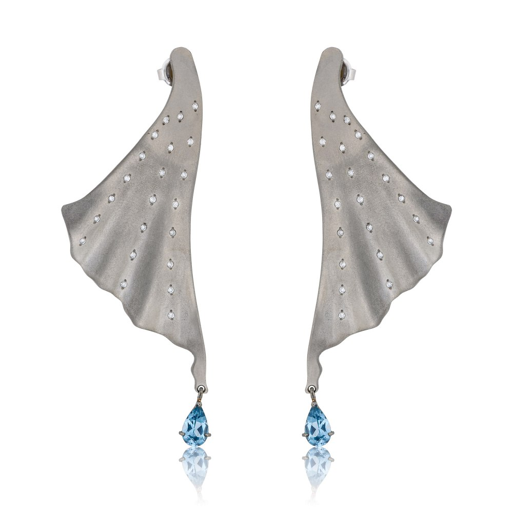 ANASTASIA KESSARIS Angelo Graphite Titanium Diamond Earrings A.ER.MT0036