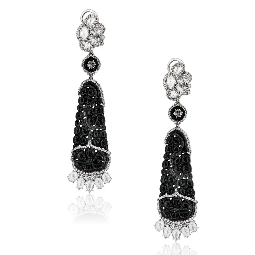 KESSARIS Black Jade & Diamond Chandelier Earrings SKP192796
