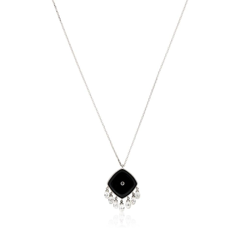Kessaris-Black Onyx Diamond Square Pendant Necklace