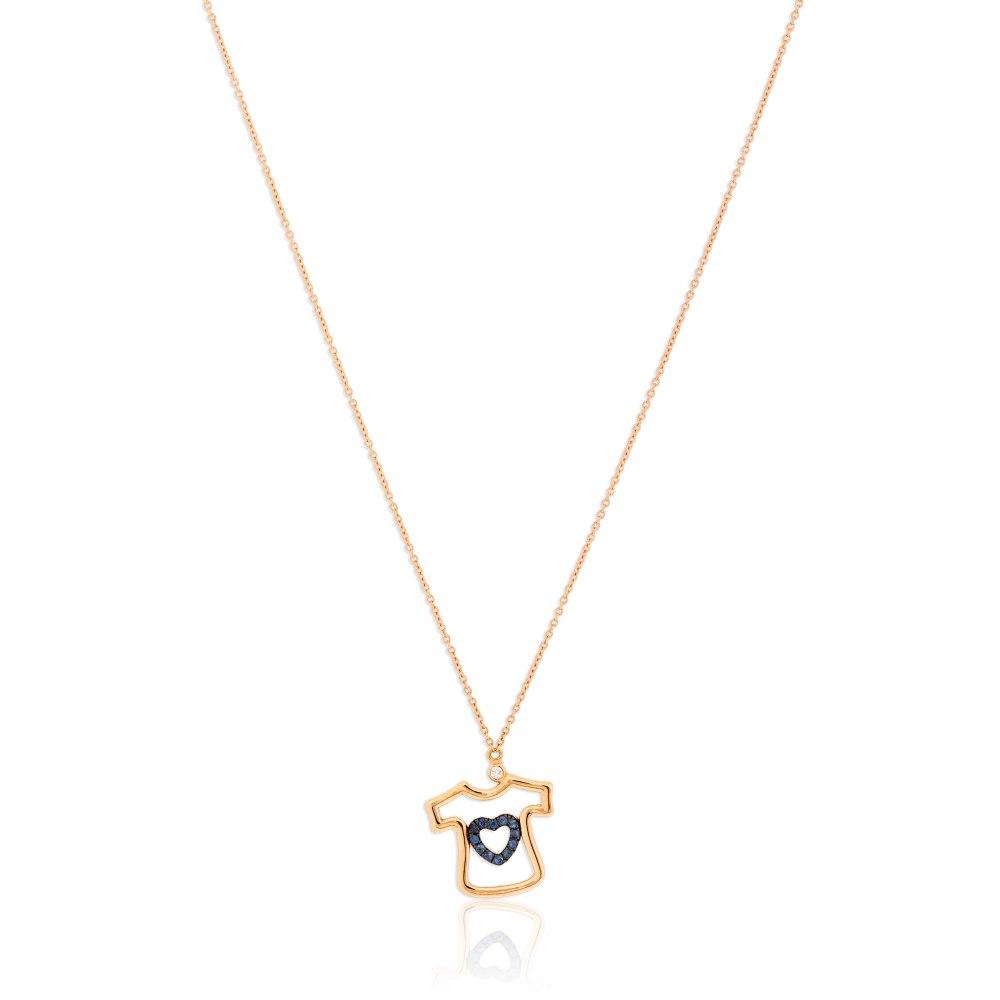 KESSARIS Blue Heart T-Shirt Necklace KOE182775
