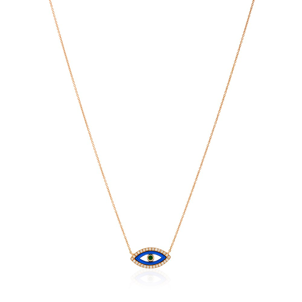 KESSARIS Blue Evil Eye Diamond Pendant Necklace KOE181316