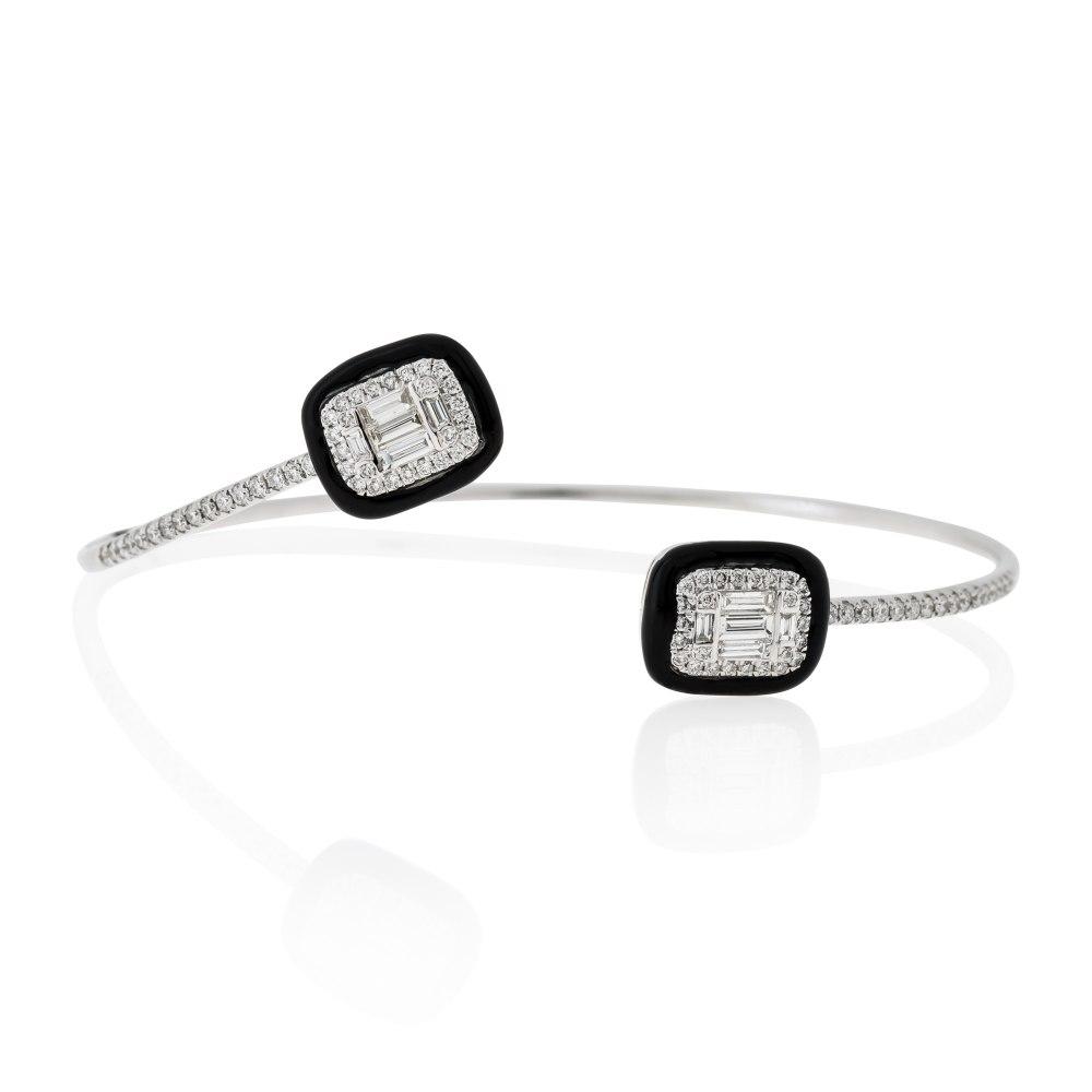 KESSARIS Black Onyx Diamond Cuff Bracelet BRE182453
