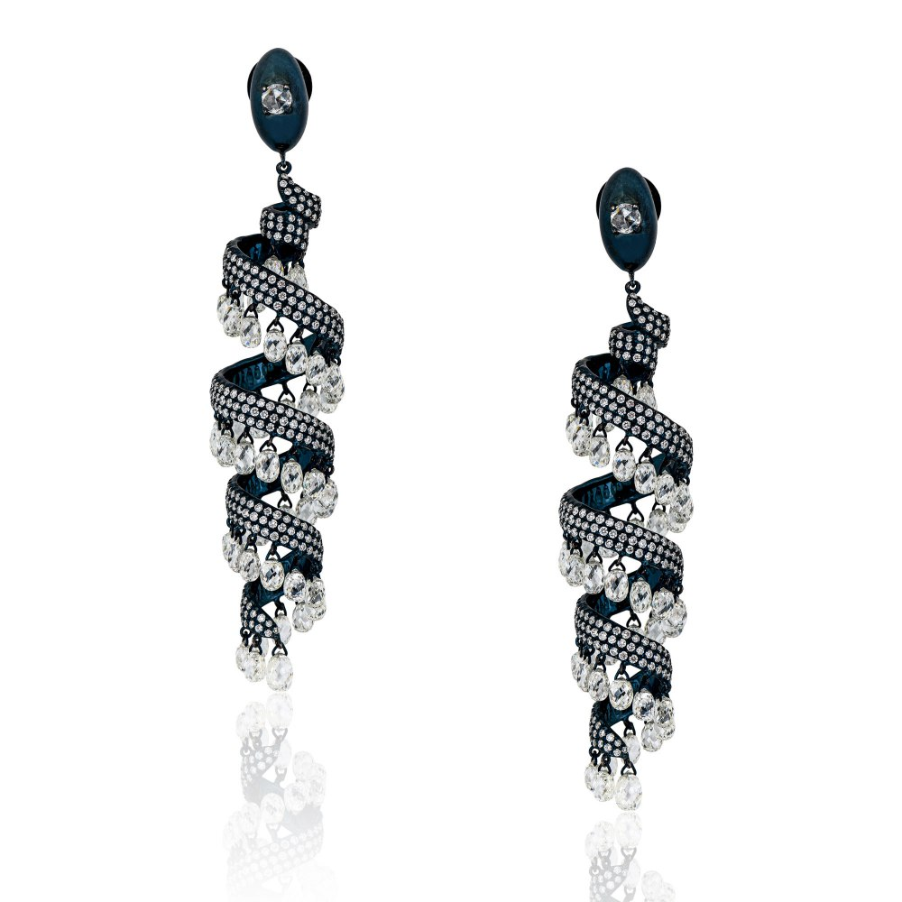 KESSARIS Brilliant and Briolette Diamond Serpentine Earrings SKE190887