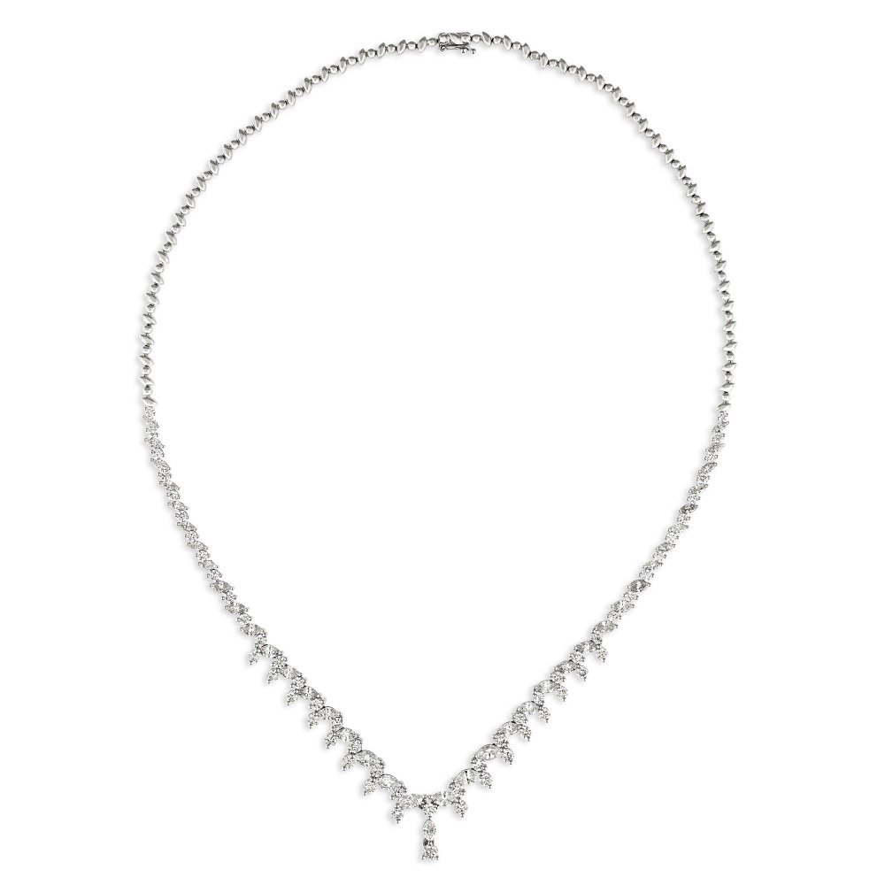 KESSARIS Brilliant and Marquise Cut Diamond Necklace KOE192722