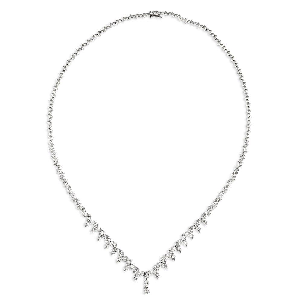 KESSARIS Brilliant and Marquise Cut Diamond Necklace KOE192722