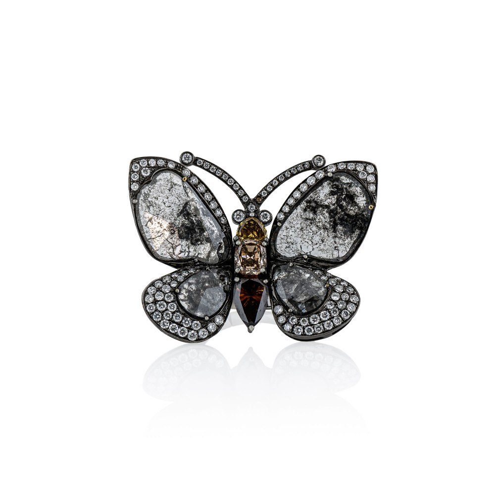 KESSARIS White & Brown Diamond Butterfly Ring DAE100703