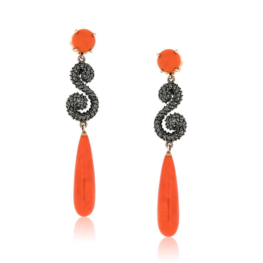 KESSARIS Coral & Black Diamond Dangle Earrings SKE111789