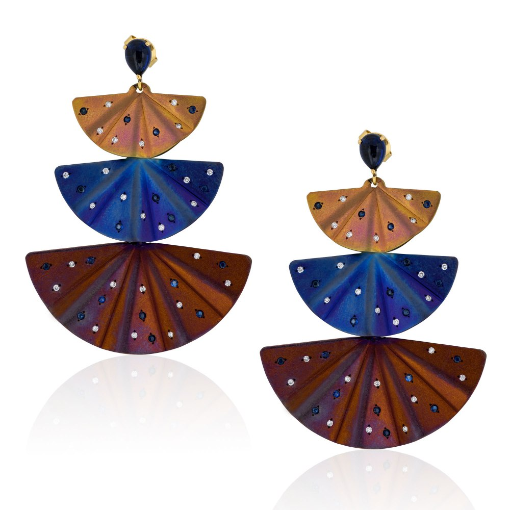 ANASTASIA KESSARIS Dancing Geisha Titanium Diamond and Sapphire Earrings A.ER.MT0040