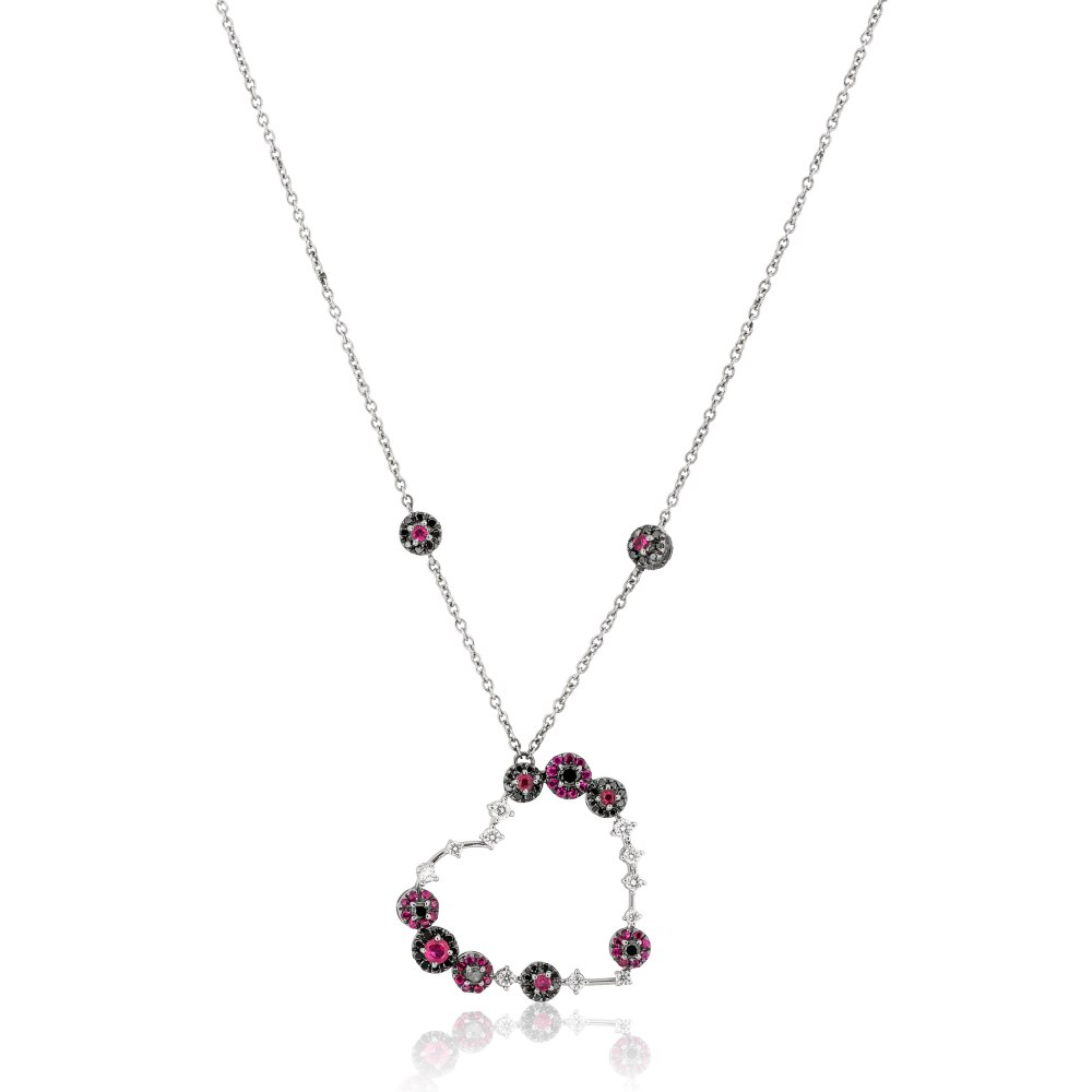 KESSARIS Diamond Ruby Heart Necklace KOE62440