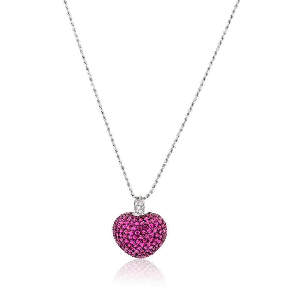 KESSARIS Diamond Ruby Heart Pendant KRP103505