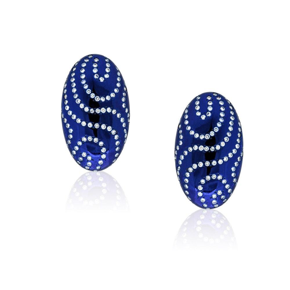 Kessaris-Diamond Deep Blue Earrings