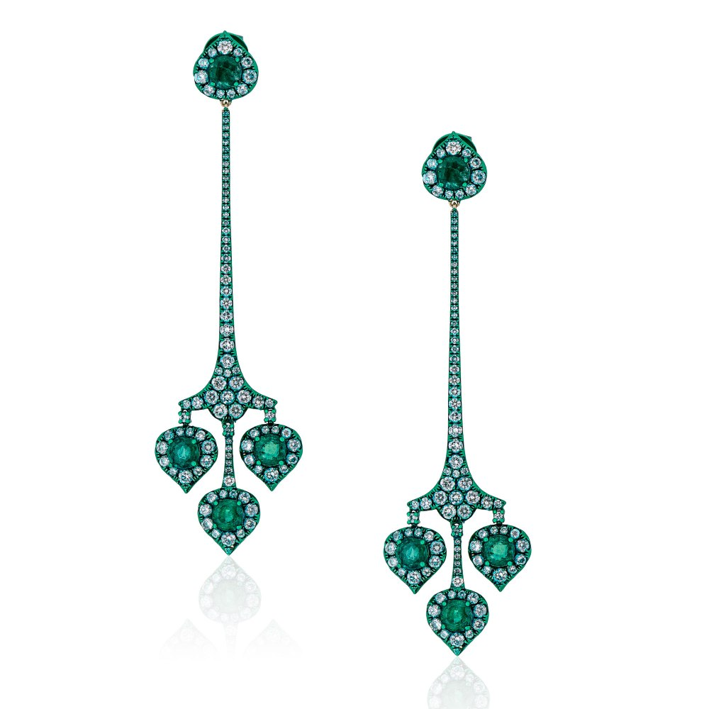 KESSARIS Diamond & Emerald Earrings SKE192601