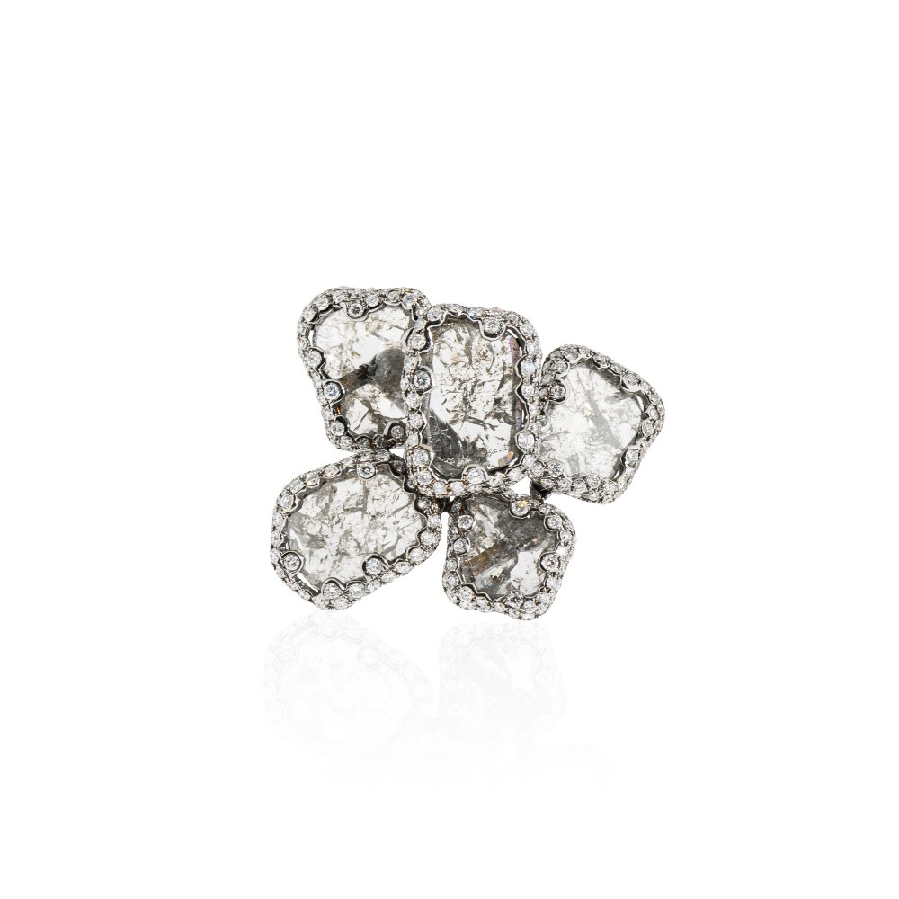 KESSARIS Diamond Flower Statement Ring DAE84789