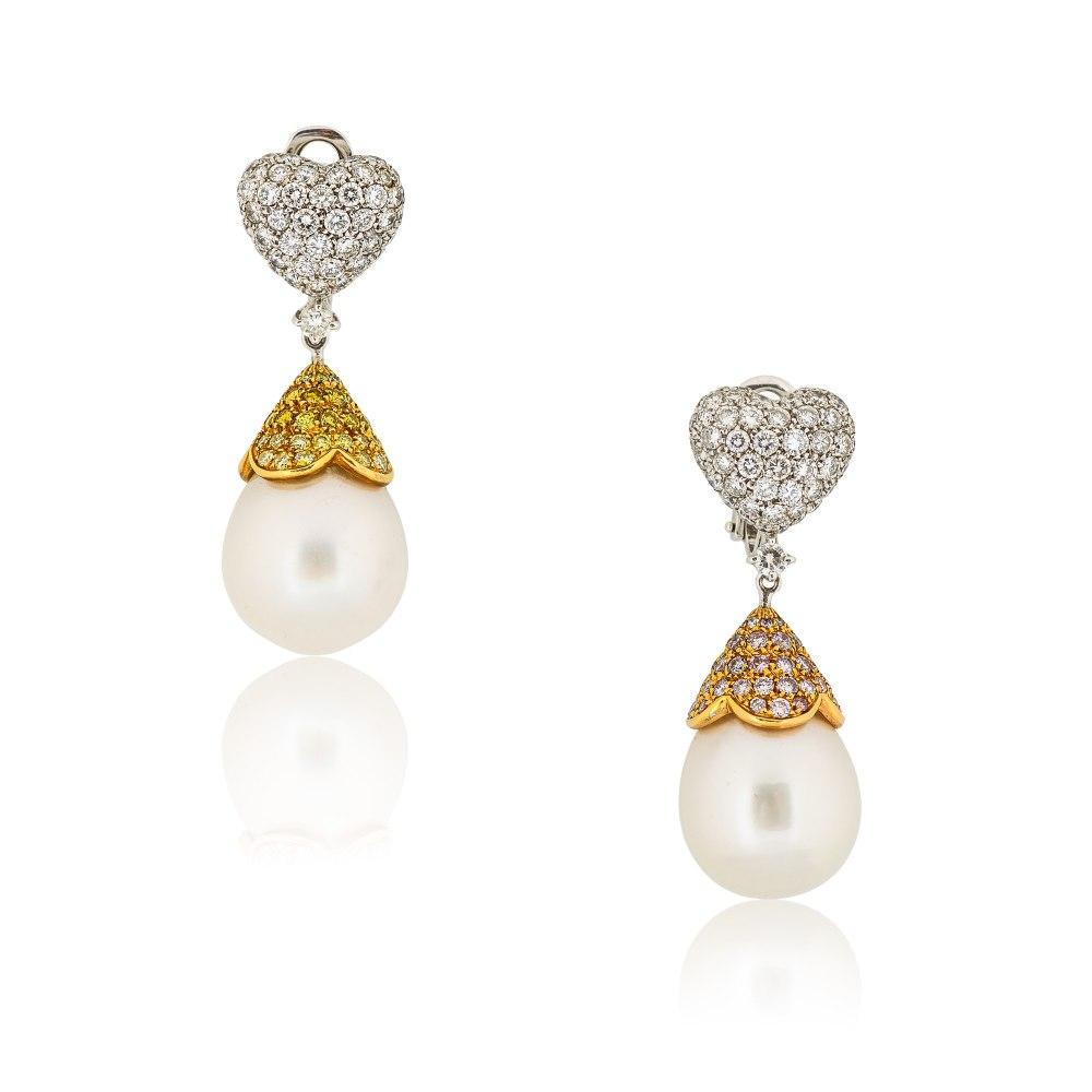KESSARIS Diamonds and Pearls Heart Drop Earrings SKE22024