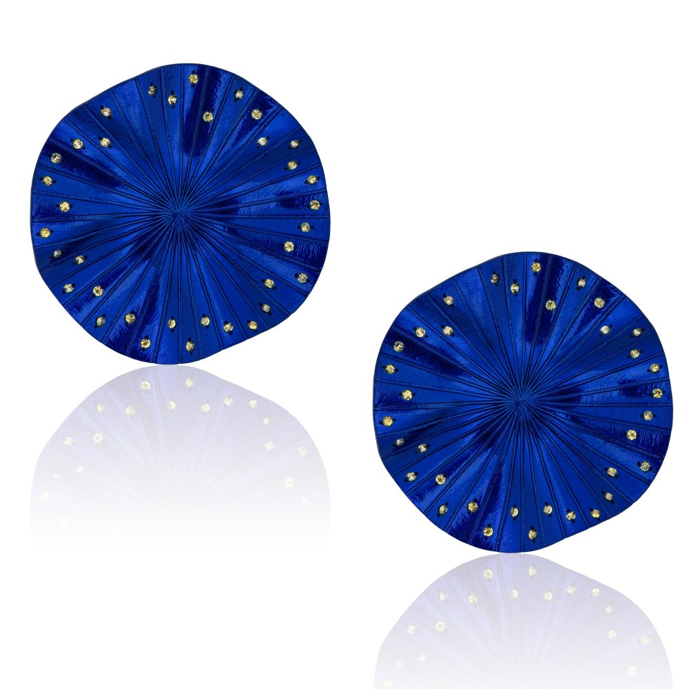 ANASTASIA KESSARIS Disco Clique Blue Titanium Sapphire Earrings A.ER.AP0020