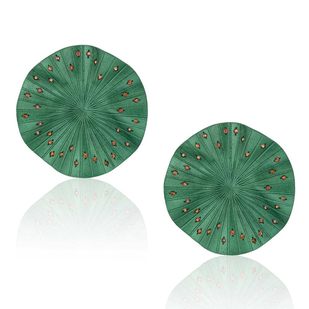 ANASTASIA KESSARIS Disco Clique Green Titanium Sapphire Earrings A.ER.AP0024