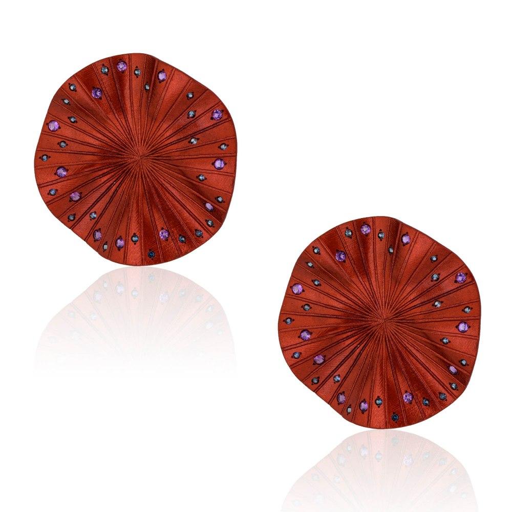 ANASTASIA KESSARIS Disco Clique Red Titanium Sapphire and Amethyst Earrings A.ER.AP0022