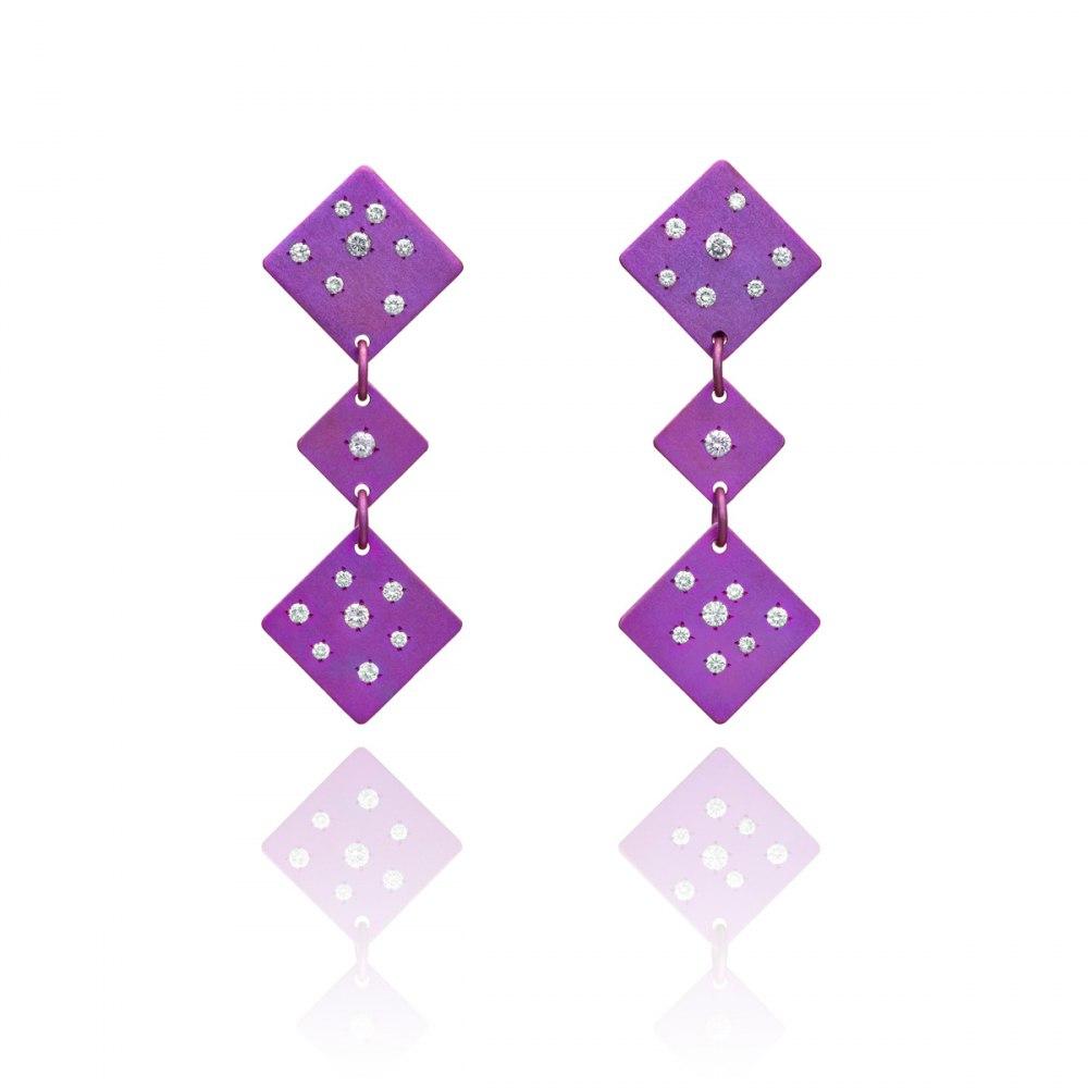ANASTASIA KESSARIS Drunk Dice Fuchsia Titanium Diamond Earrings SKP171899
