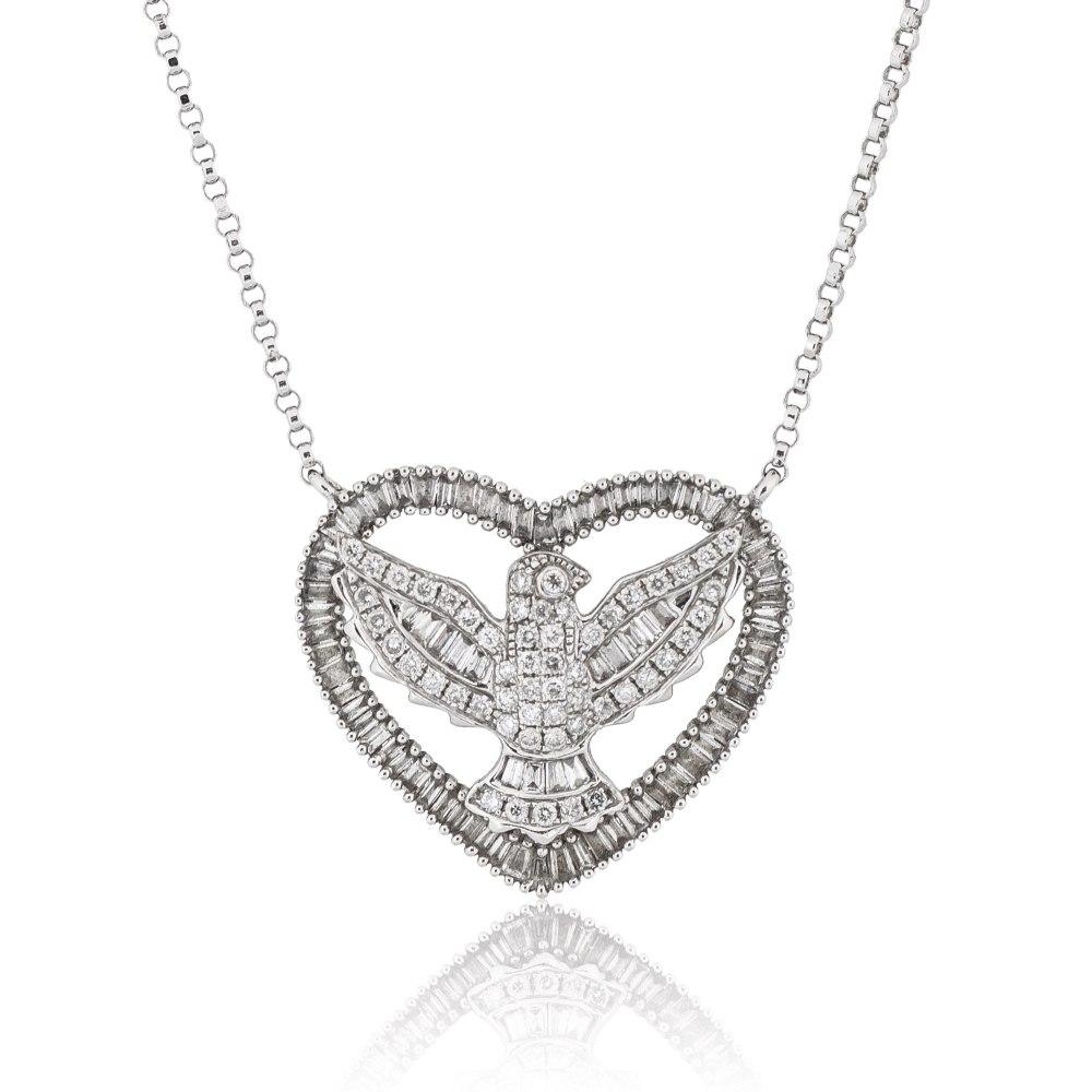KESSARIS Eagle Diamond Heart Necklace KOE132309