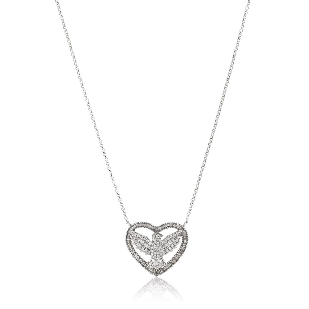 KESSARIS Eagle Diamond Heart Necklace KOE132309