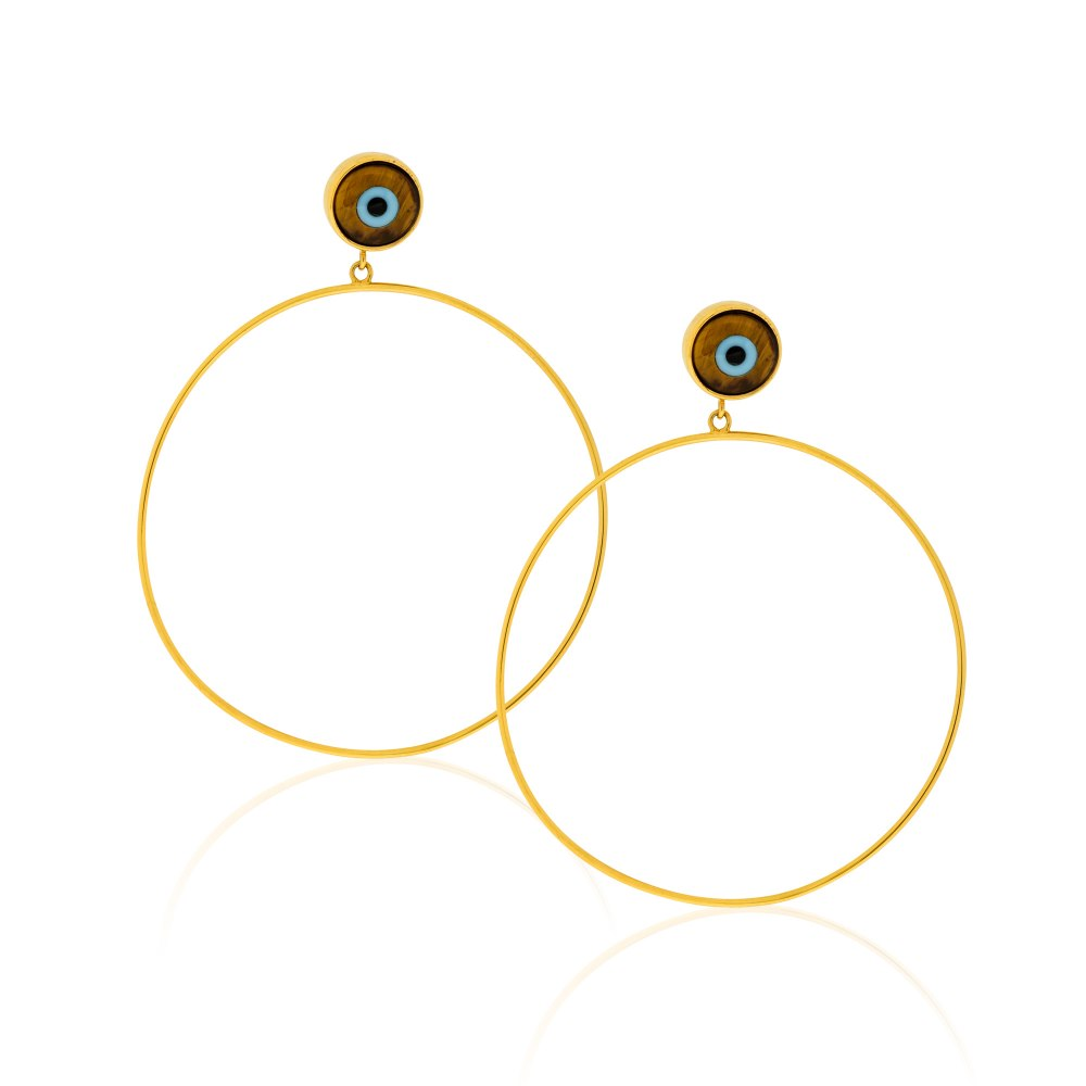 ANASTASIA KESSARIS Eye of the Tiger Gold Hoop Earrings SKP180433