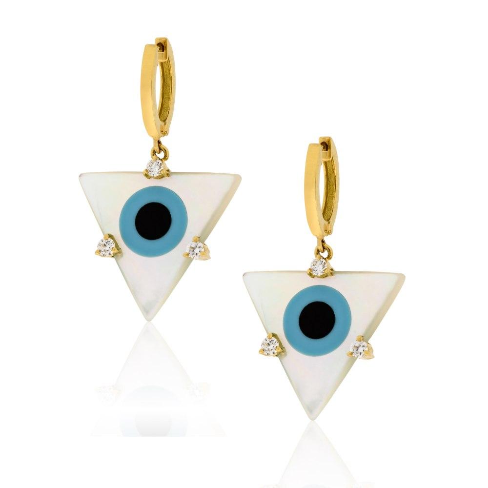 ANASTASIA KESSARIS Evil Eye Triangle Mother of Pearl Earrings SKP180331