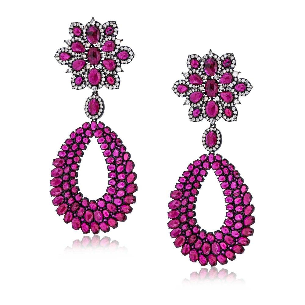 KESSARIS Ruby Flower Drop Gold Earrings SKE182773
