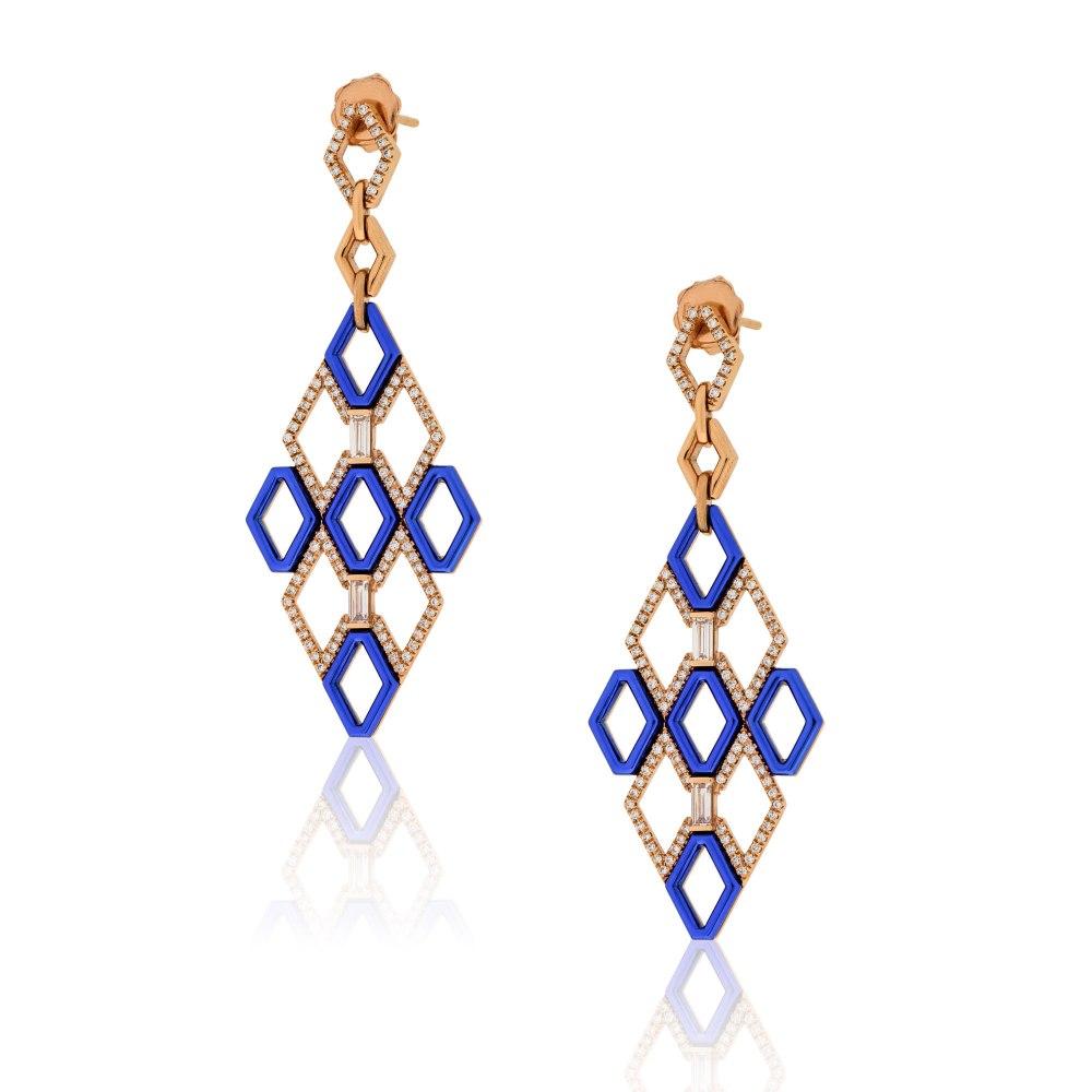 KESSARIS Geometric Diamond Blue Earrings SKE181023