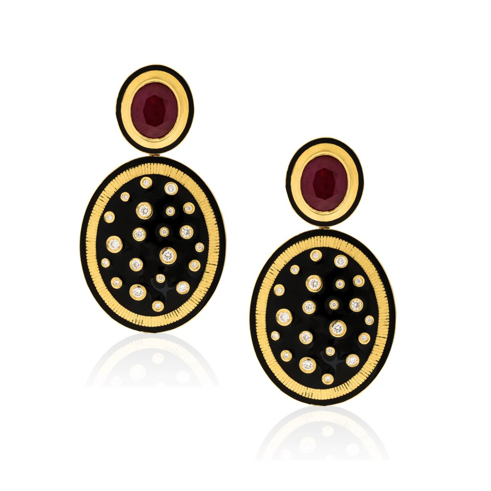 ANASTASIA KESSARIS Oval Yellow Gold Ruby Earrings SKP182080
