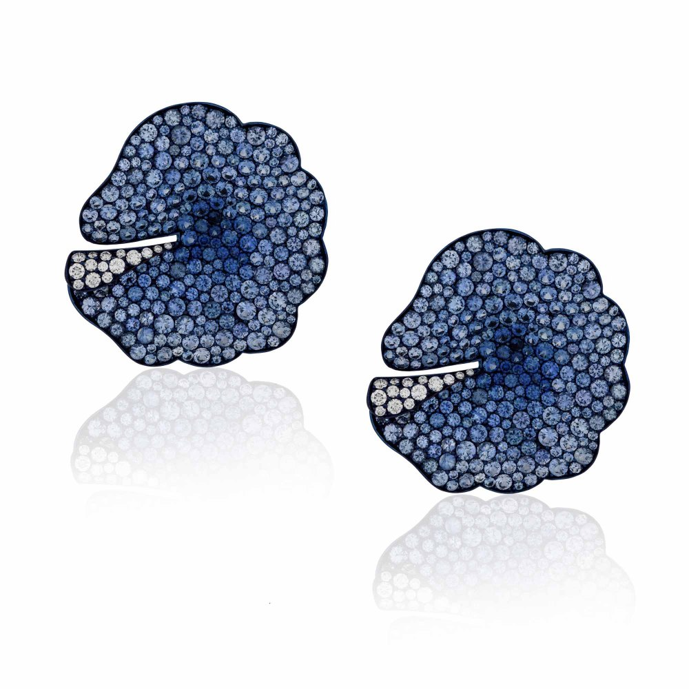 KESSARIS Sapphire Flower Gold Earrings SKP181602