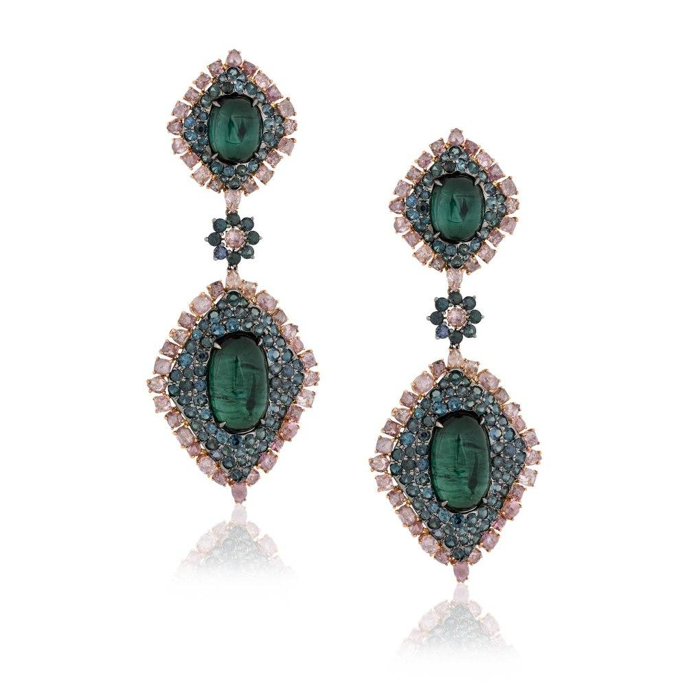 KESSARIS Green Tourmaline Earrings SKE181612