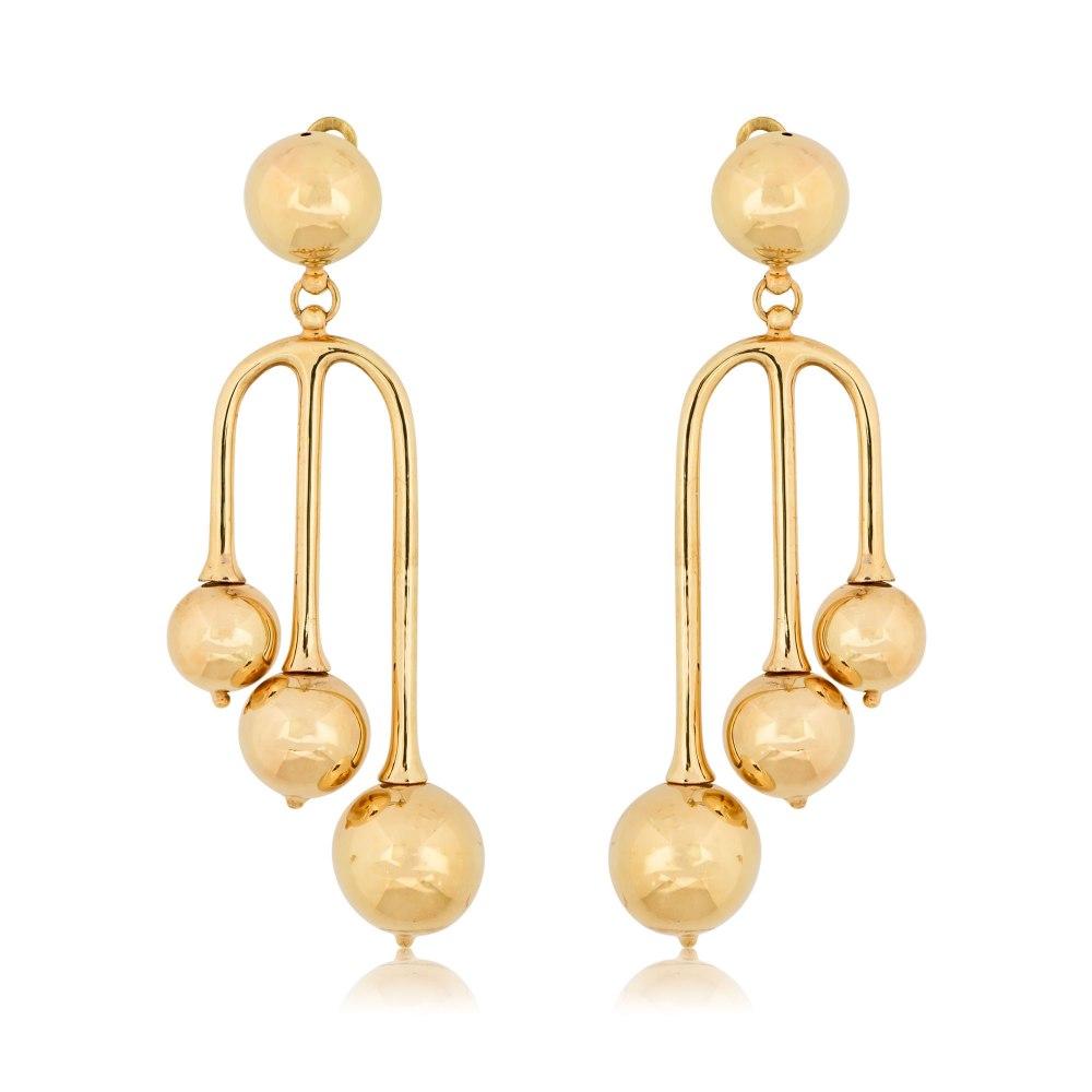 KESSARIS Hanging Yellow Gold Earrings with Balls SKE180681