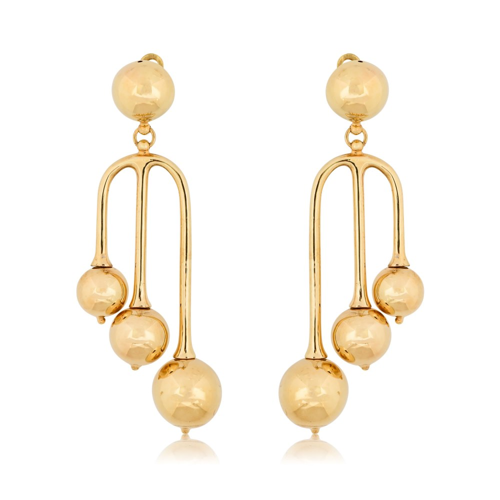 KESSARIS Hanging Yellow Gold Earrings with Balls SKE180681
