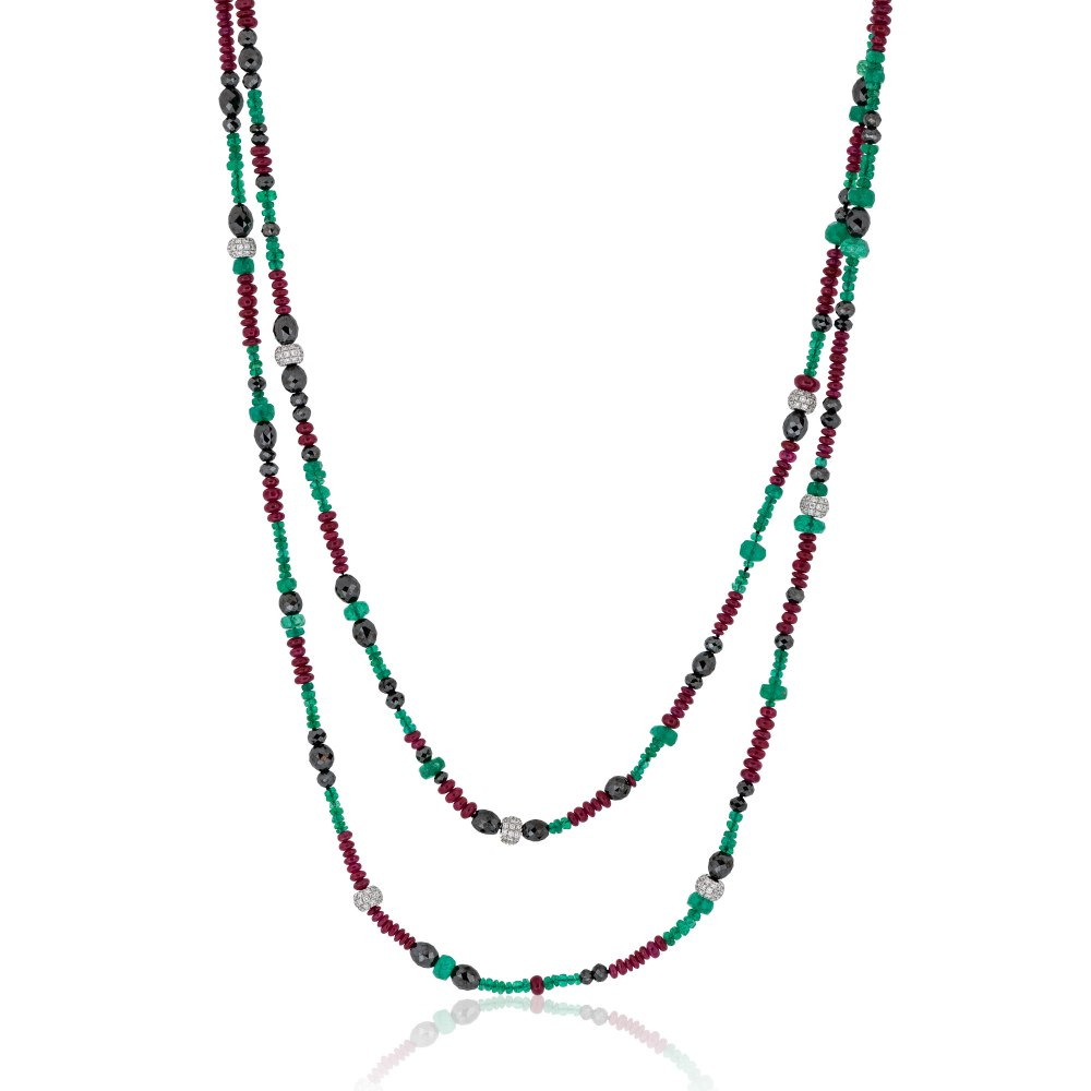 KESSARIS Emerald, Ruby & Diamond Beads Necklace KOP133179
