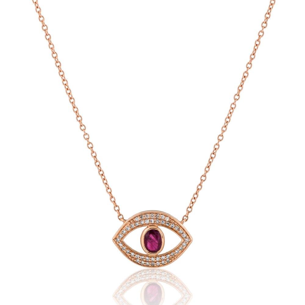 KESSARIS Evil Eye Diamond & Ruby Pendant Necklace KOE192806