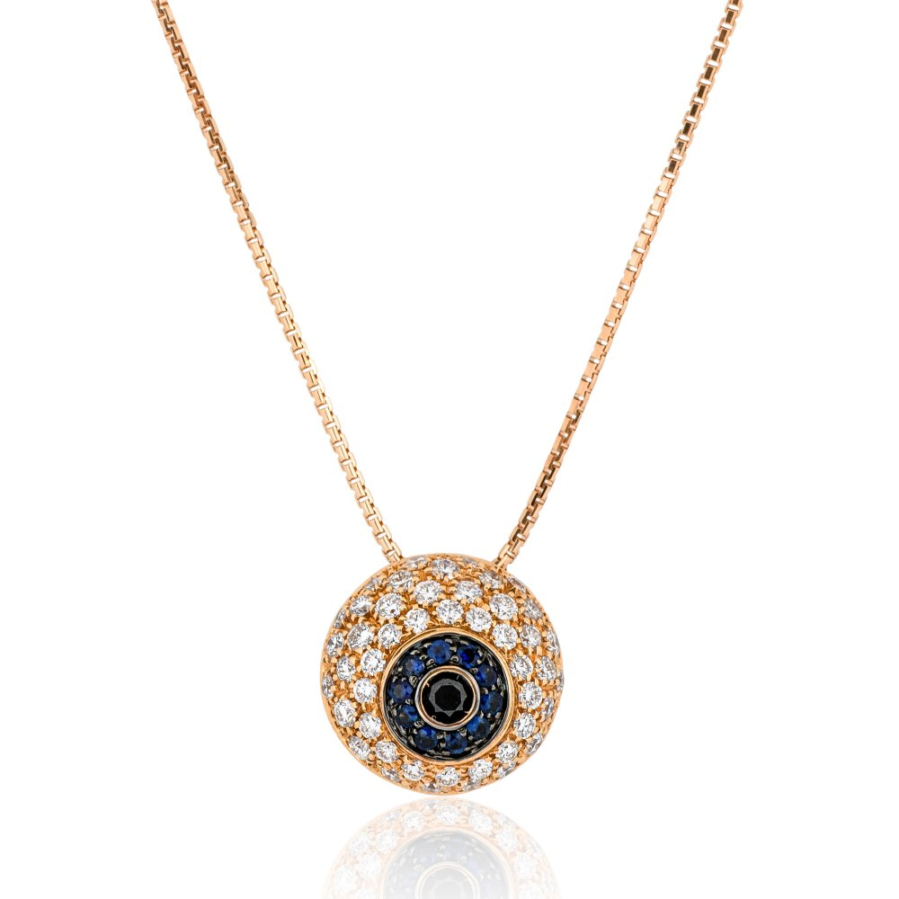 KESSARIS Evil Eye Diamond & Sapphire Pendant Necklace KOE191092
