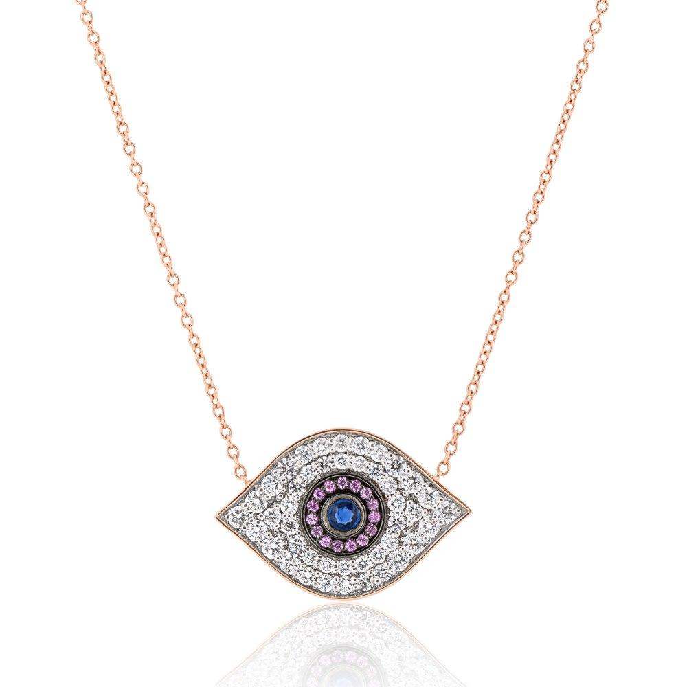 KESSARIS Evil Eye Diamond & Sapphire Pendant Necklace KOE192820