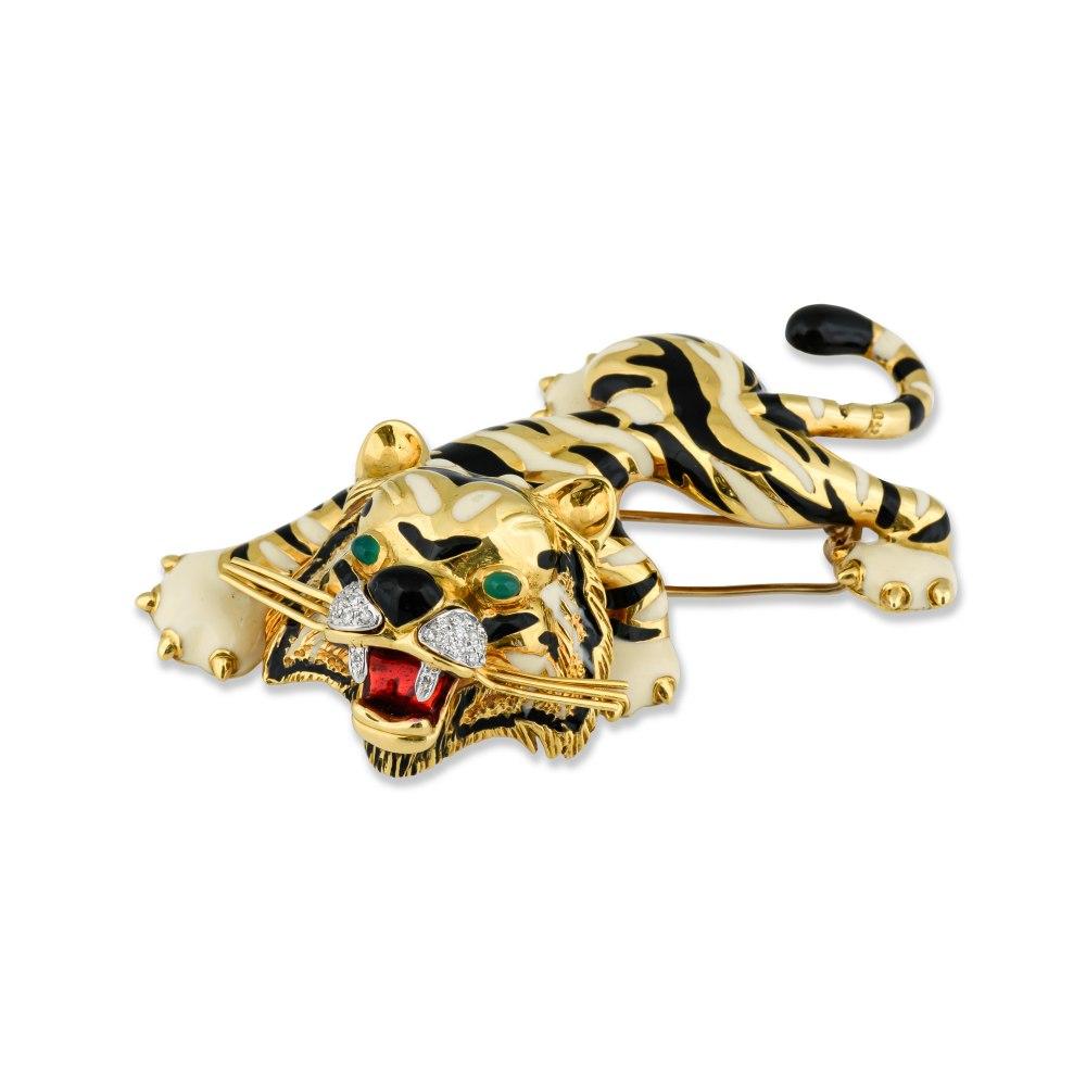 Kessaris-Extravagant Tiger Brooch