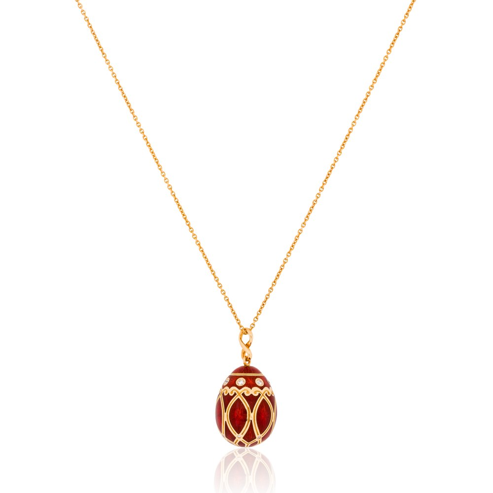 FABERGE Palais Yelagin Red Egg Pendant Necklace KOP170652