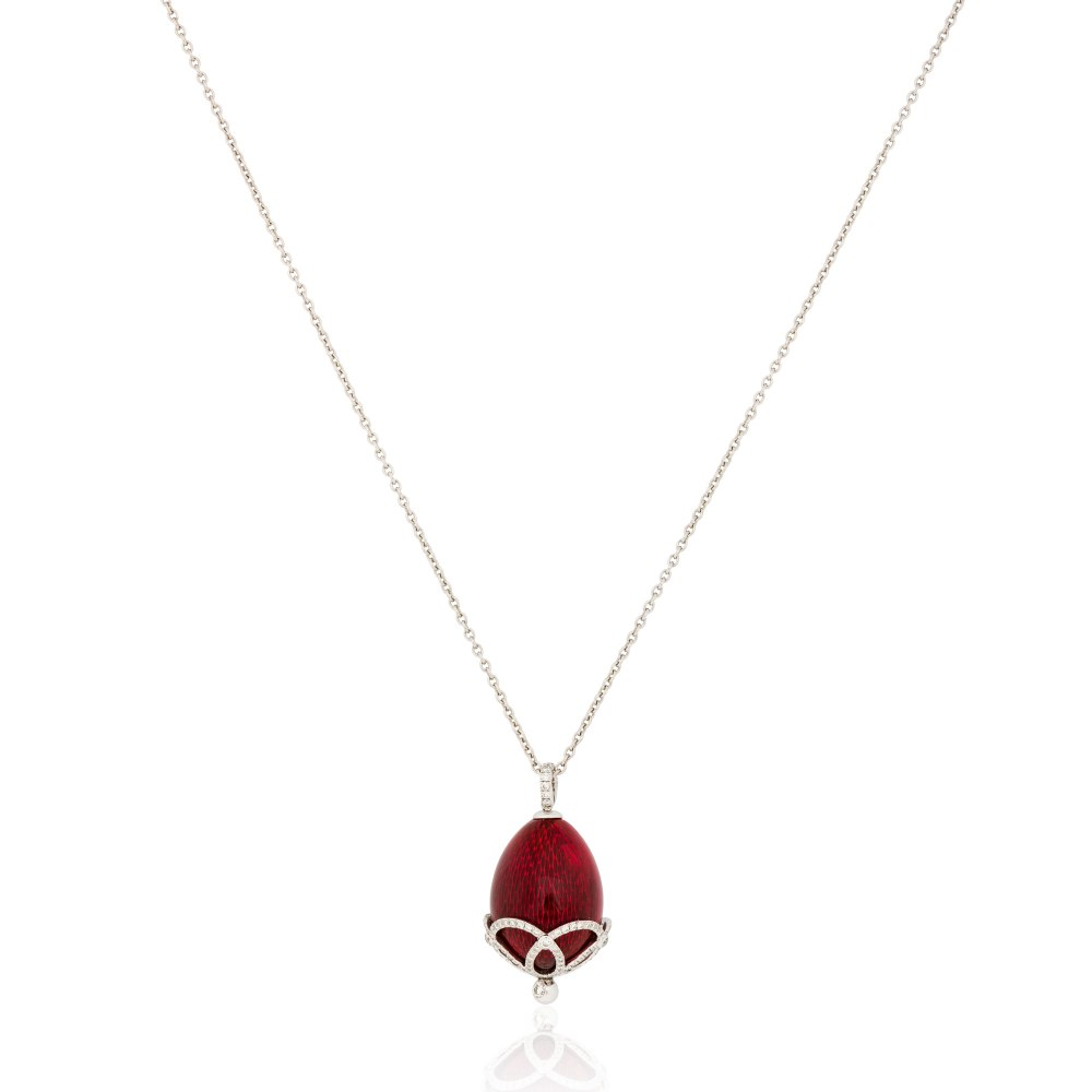 FABERGE Diamond Gold Red Egg Pendant Necklace KOP170644