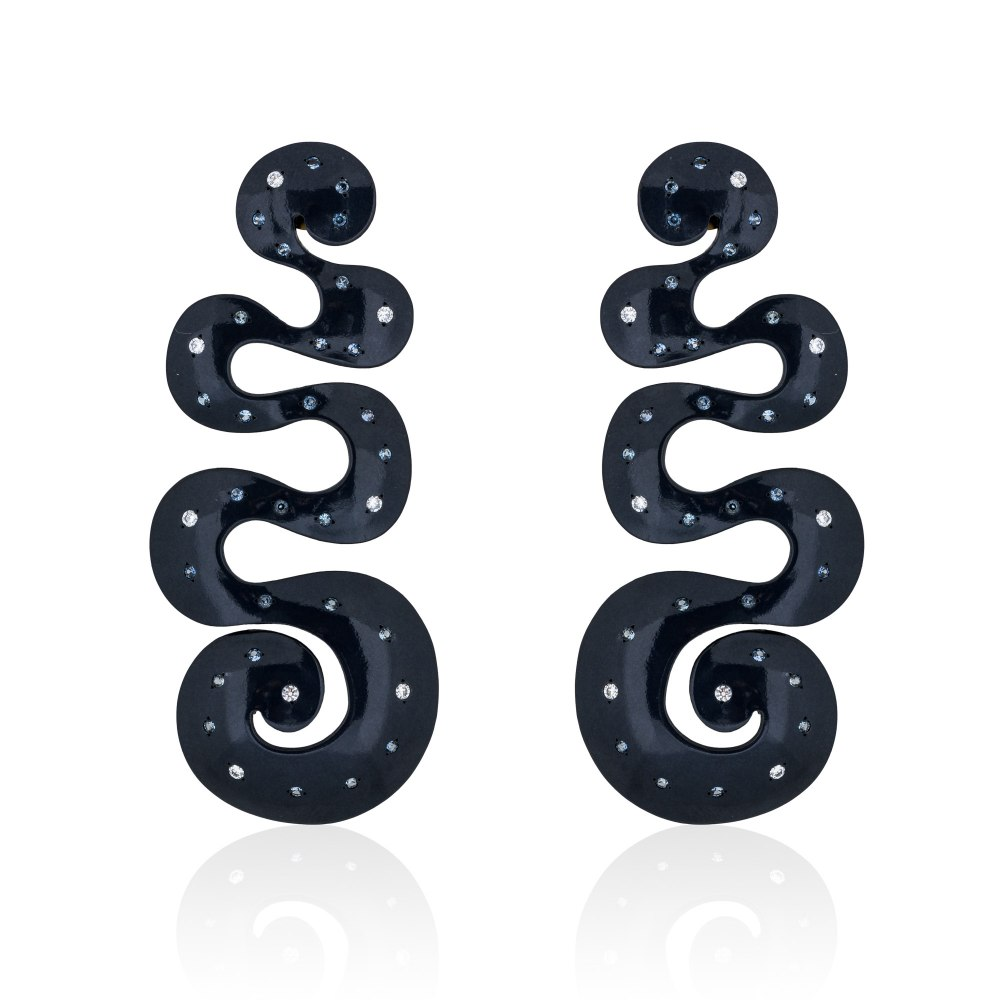 ANASTASIA KESSARIS Galactic Swirls Black Titanium Diamond and Sapphire Earrings SKP192009