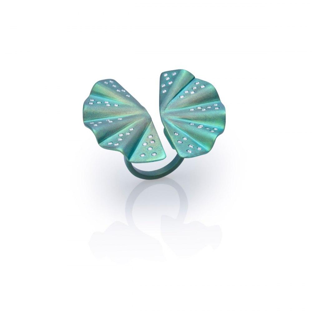 ANASTASIA KESSARIS Geisha Green Titanium and Diamond Ring DAP171859