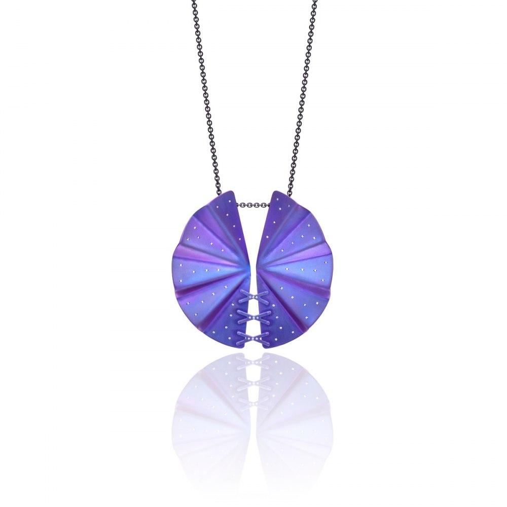 ANASTASIA KESSARIS Geisha Purple Titanium and Diamond Pendant KRP172115-and-DFE169449
