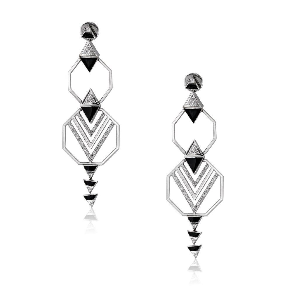 ALESSA JEWELRY Geometrical Enamel Diamond Earrings SKE200622