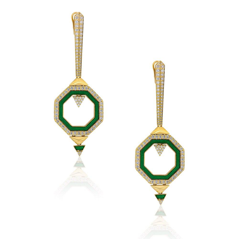 ALESSA JEWELRY Geometrical Enamel Diamond Earrings SKE200623