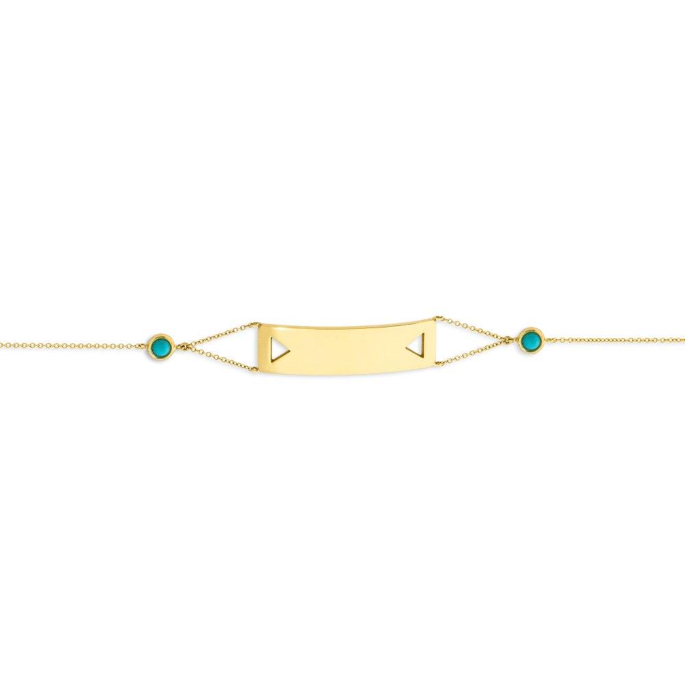 KESSARIS Yellow Gold Turquoise Bracelet BRP190003