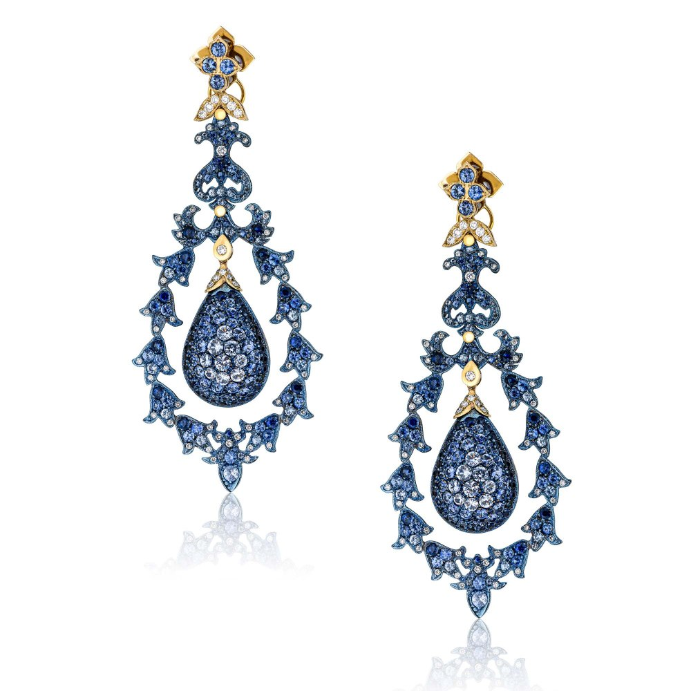 KESSARIS Gold & Titanium Chandelier Earrings SKE192791