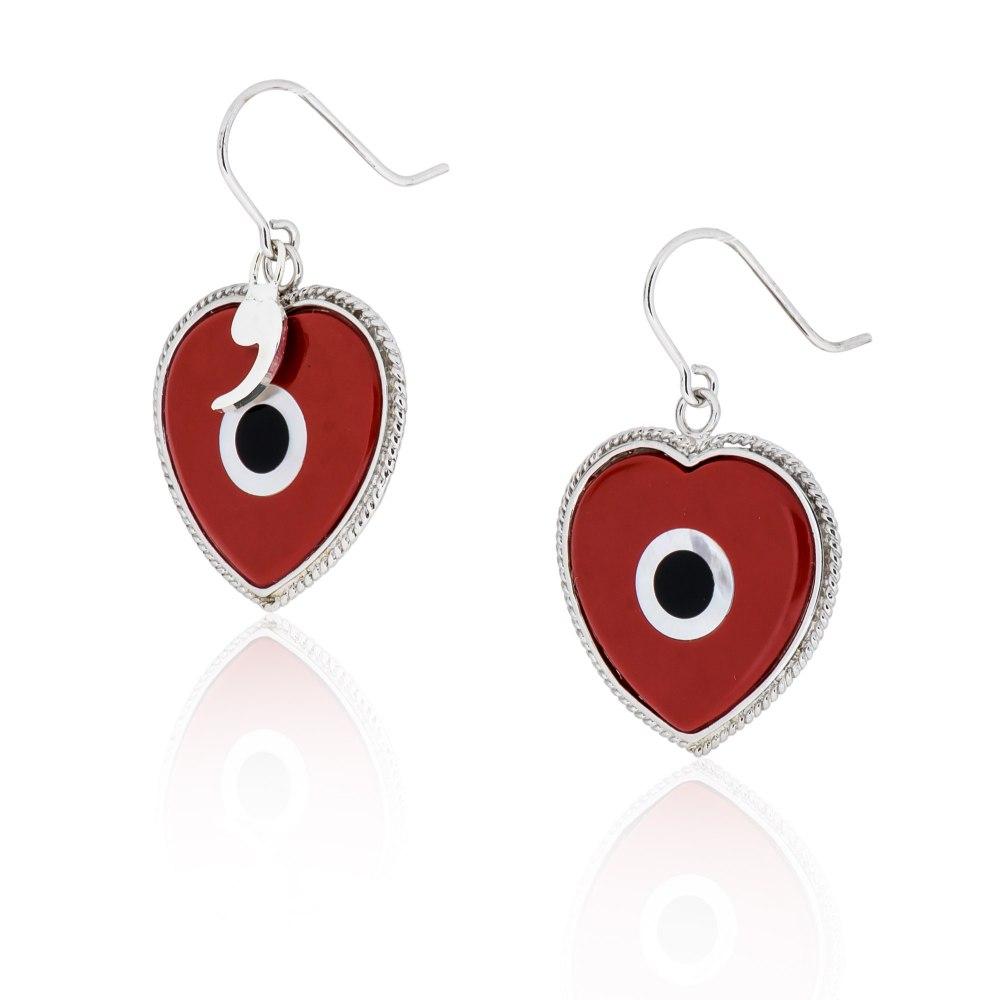 KESSARIS Silver Earrings Heart Shape with Evil Eye DFP189432